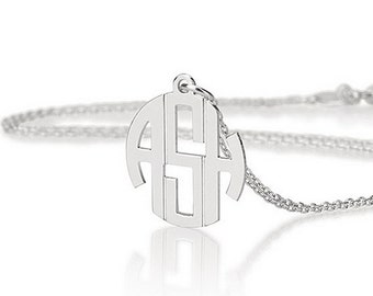 """Mini Monogram Necklace 0.6""""- Personalized  Monogram Necklace - 925 Sterling silver"""
