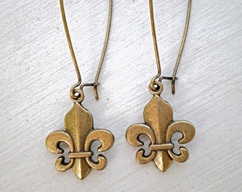 Fleur De Lis Earrings/Long Earrings/Fleur De Lis/Fleur De Lis Jewelry/French Earrings