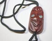 Vintage Bolo Western String Tie Carved Wood Mask