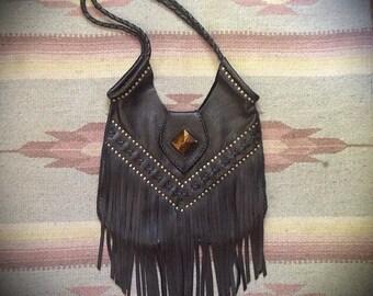 Fez Studded Fringe Tote Bag