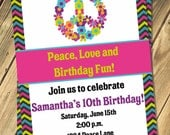 Peace Sign Birthday Invitation Print Your Own 5x7 or 4x6