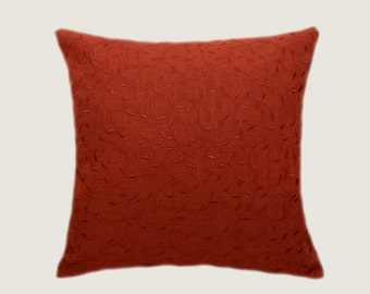 "Decorative Pillow case, Red- Brown color fabric with leaves embrodery Throw pillow cover, fits 18"" x 18"" insert, Toss pillow cover"