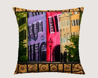 "Decorative Pillow Case, Multicolored Old City Patterned cotton Stephanie Brandenburg fabric Throw pillow case, fits 20"" x 20"" insert"