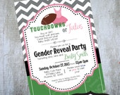Touchdown or Tutu Gender Reveal Party Invitation Printable Baby Shower by Luv Bug Design