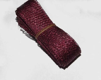 2.5cm wide Wine Sinamay Bias Bind - 1.2 metres long, ideal for edging or looping
