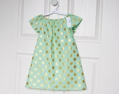 Girls Dress in Mint Green with Gold Polka Dots. Metallic. Toddler Clothes. Girl. Child. Summer Fashion.