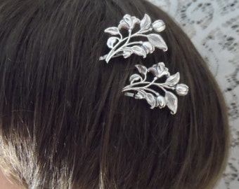 FLOWER bobby pins silver hair pins Victorian hair accessories floral bobby pin victorian hair jewelry wedding accessories bridal accessories