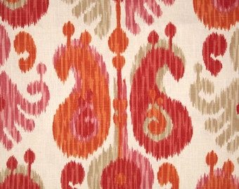 """Two  96"""" x 50""""  Custom Curtain Panels  - Journey Fruity Ikat - Coral/Pink/Tangerine"""