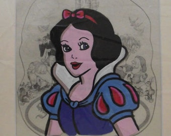 Handpainted Snow White animation cel 12 x 10 inch hand painted mounted ready to frame