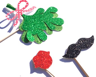 Christmas Photo Booth Props - 3 piece set - GLITTER Mustache, Lips, and Mistletoe on a stick