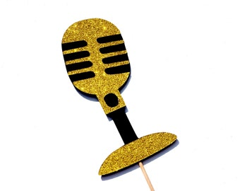 Photo Booth Props - GLITTER Vintage Microphone - Gold - GLITTER Photobooth Props
