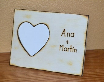Rustic wedding photo frame engraved with names perfect gift valentines BUY today to get it in time for valentines
