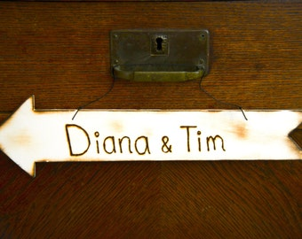Rustic Engraved Wood Arrow Personalized with Bride and Groom names