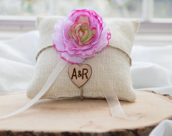 Purple  flower ivory burlap personalized ring bearer pillow  shabby chic with engraved heart  initials... many more colors available