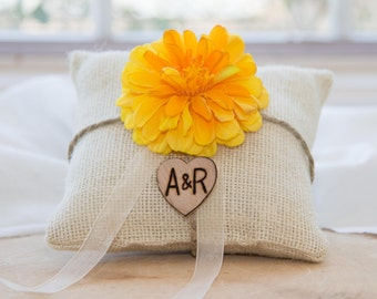 Yellow fower burlap personalized ivory ring bearer pillow  shabby chic with engraved heart  initials... many more colors available