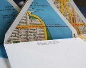 Hel-Lo Note Card Set of 8 with Antique New York City Map Lined Envelopes - Wanderlust Collection