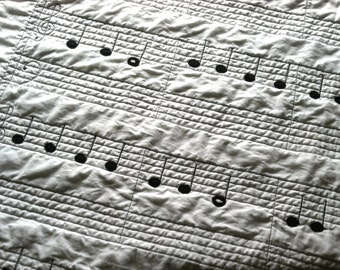 Organic Wholecloth Sheet Music Quilt - Twinkle Twinkle Little Star - Pure and Natural, Modern Quilt, Made to Order
