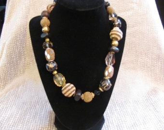 Gold and Dark Brown Chunky Beaded Necklace