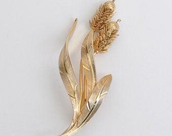 Vintage Brass Wheat Brooch