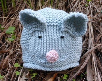 BABY KNITTING PATTERN in pdf - Little Mouse Baby Hat