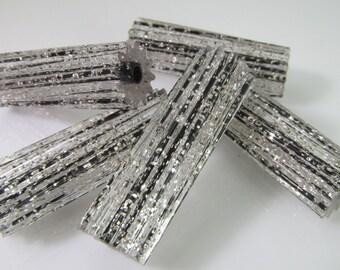 16 Vintage 25x8 Lucite Silver Glitter Black Tube Beads Bd29