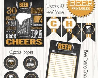 Beer Party Printables, Cheers to 30 Beer sign, Chalkboard Beer sign, DIY Printable Beer Party sign