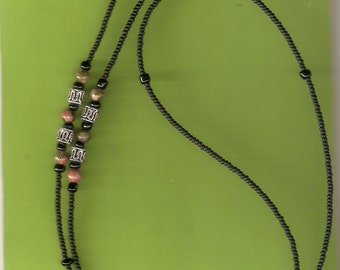 "Macho Man Eyeglass Chain Matte Black  Seed Beads with Jasper and Silver  Accents 30"" Handmade in USA Light Strong"