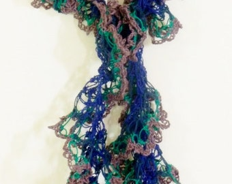 Blue, Teal and Violet Crochet Lace Scarf