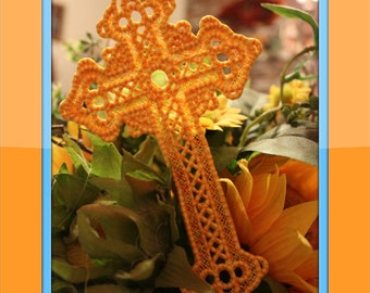 Lace Cross Bookmark, Lace Cross Ornament, Machine Embroidered Cross,
