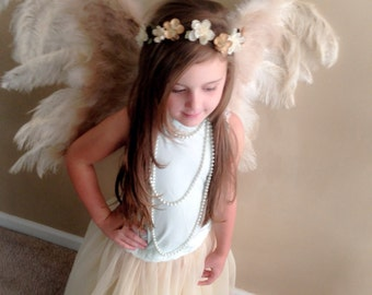 SALE! Angel Wings BIG, Fluffy, Beautiful, Flexible 30x24 Two toned Champagne and Beige for Costume Children or Adult