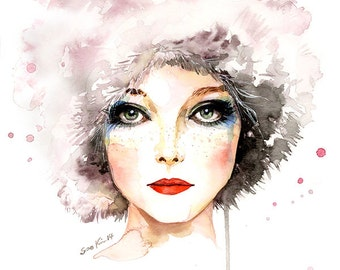 Watercolor Fashion Illustration - 60s Fashion Model Penelope Tree