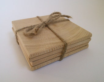 Reclaimed Wood Unfinished Coasters DIY Set of 4