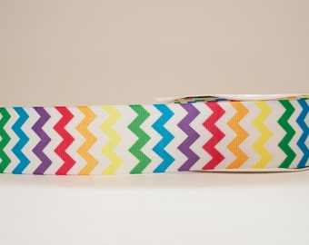 Chevron Multicolor Extra Wide 1.5in Grosgrain Ribbon - 1 yd.