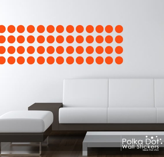 Peel and stick orange polka dot wall by polkadotwallstickers for Orange peel and stick wallpaper
