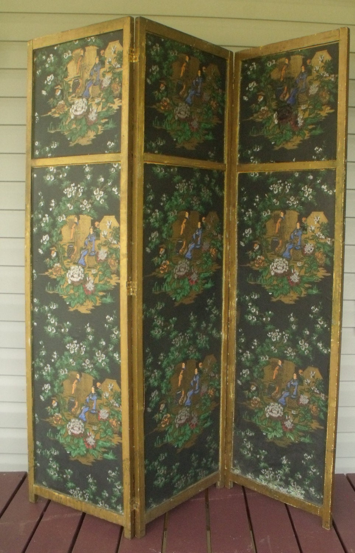 Room divider asian 3 panel dressing screen chinoiserie wood - 3 panel screen room divider ...