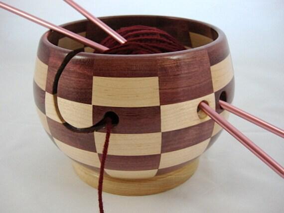 NEW Design Wooden Knitting and Yarn Bowl Segmented Checker