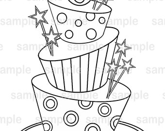 Topsy Turvy Cake Clipart : Sketch 3 Layer Cake Coloring Pages