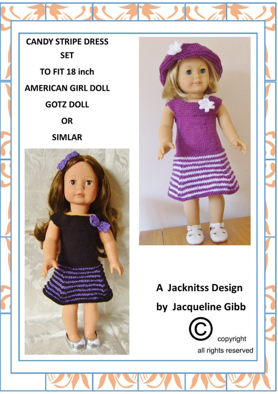 12 American Girl Doll.Candy Stripe & Party Delight Sets PDF Knitting Pattern