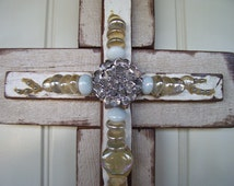Shabby Chic Cross in Silver and White