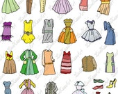 Digital Retro Vintage Dress Clipart, Shoes, Party Invitations, Scrapbooking, Fashion INSTANT DOWNLOAD,  Personal, Commercial Use, png,  jpg