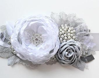 "White Gray Burlap Sash""Ashley""/ Wedding Ribbon Bridal Sash"