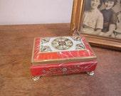 Vintage Fricke and Nacke Footed Metal Tin Box  made in Western Germany. Pressed Metal