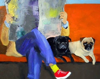 "Pug Art Print of an original oil painting/ ""Quality Time"" / 11 x 14 /Dog Art"