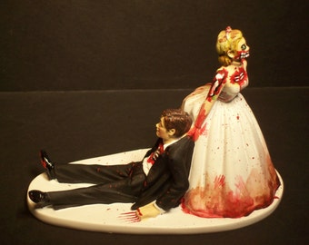 Zombies Bride and Groom Funny Wedding Cake Topper Funny Scary Horror No Game