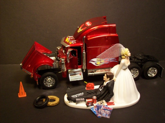 semi truck wedding cake toppers auto mechanic peterbilt 379 tractor trailer semi truck 19742
