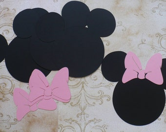 Lg. 4 Minnie Mouse Head Shapes with Medium Pink Bows Die Cut pcs 4 crafts DIY Kids Crafts Birthday Party Banners Tags etc.
