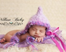 Gorgeous Baby Girl Hat -Baby Easter Hat-  Very Soft Lavender Baby Bonnet - Pretty Textured Trim and Ribbon