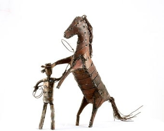 Custom Made Horse Metal Sculpture with Cowboy