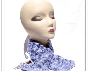 Hand-Knit KEYHOLE SCARF in Pretty Lacy Design - Of Hand-Painted Twistle Yarn, 100% Wool in Cornflower Blue - One Size