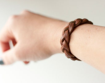 Braided Leather Bracelet / Brown / Rustic Ridge
